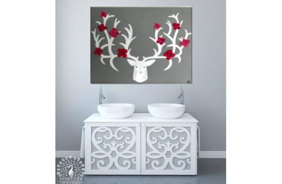 """Stag wall art deer head """"Blossom"""". Deer antlers. Deer head. Swarovski® mixed media wall art. Faux elk antler stag antler. Stag art Lydia Gee"""