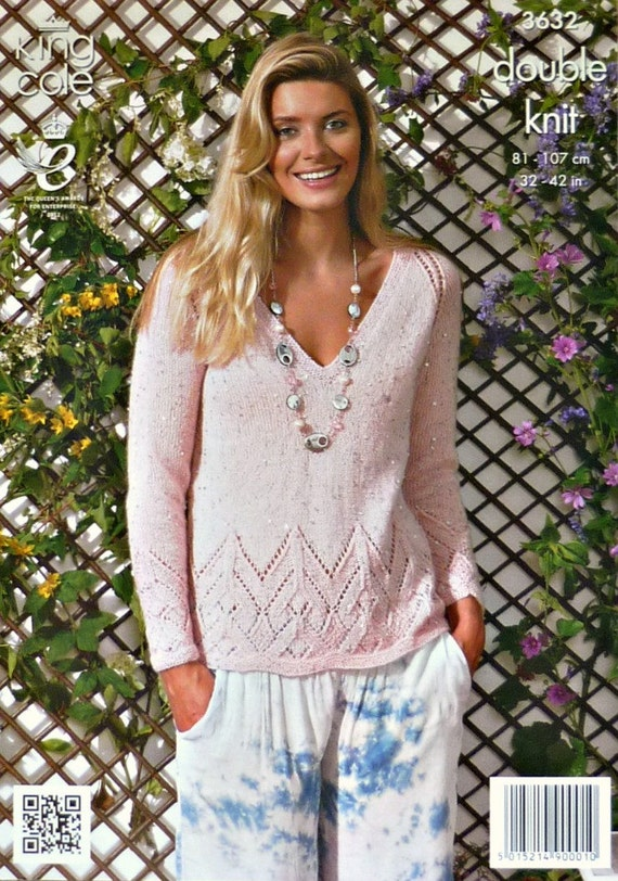 Knitting Pattern Ladies V Neck Jumper : Womens Knitting Pattern K3632 Ladies Long Sleeve V-neck Jumper