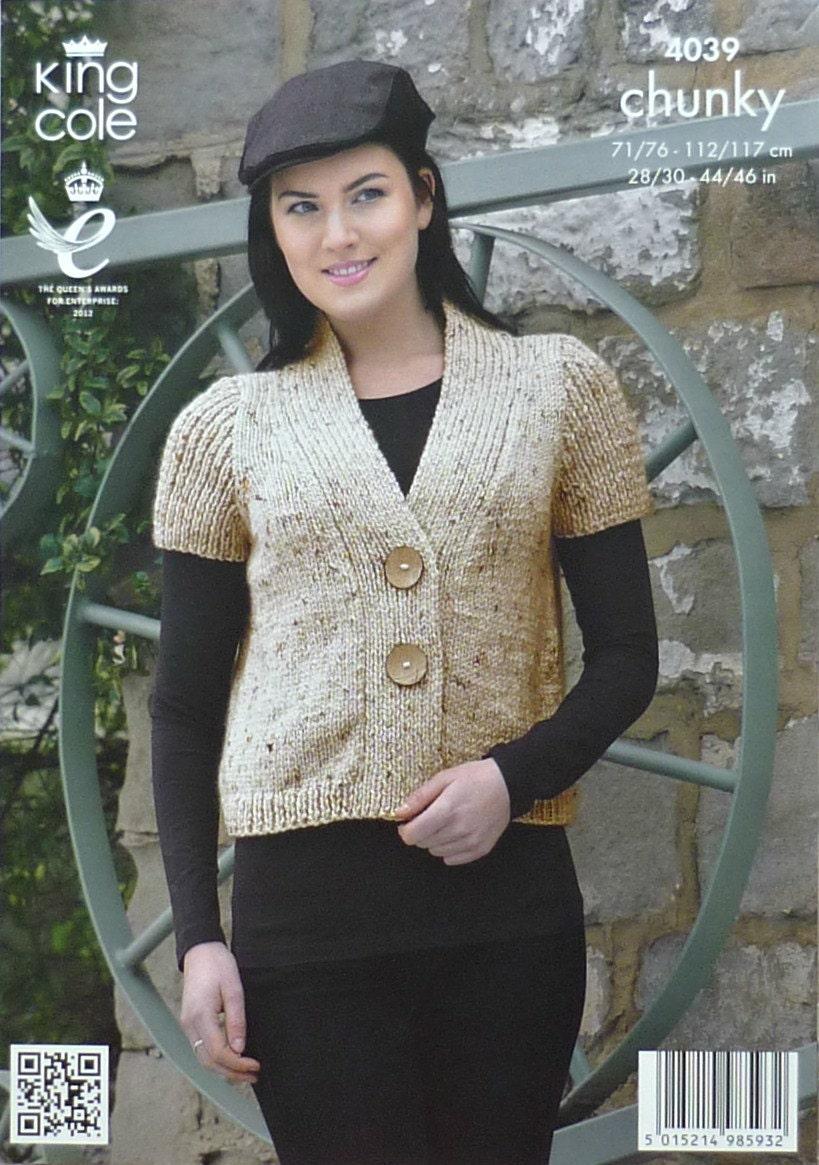 Womens Knitting Pattern K4039 Ladies Short Sleeve V-neck Cardigan ...