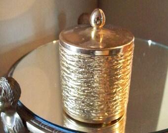 HOLLYWOOD REGENCY Napier Gold Filigree Styled Lidded Jar Gold Metal Dresser Jar Vanity Jar