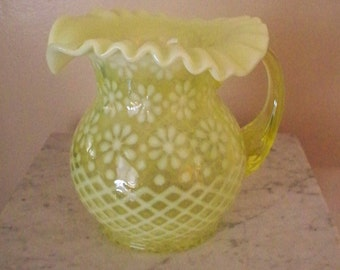 FENTON TOPAZ Opalescent Pitcher Snowflake Design For LG Wright  Vaseline Glass Daisy Pattern