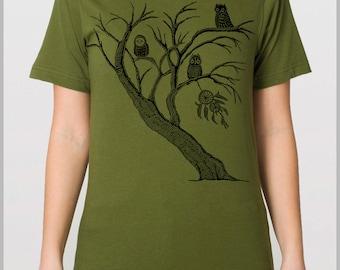 Dreamcatcher Tree Owls T Shirt Nature Unisex Tshirt American Apparel XS, S, M, L, XL  Block Print Style Art Mens Womens shirt