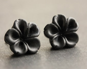 Black Flower Earrings. Black Earrings. Silver Post Earrings. Innie Flower Button Jewelry. Handmade Jewelry.