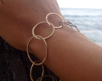 Circles around you bracelet--handmade gold filled, rose gold filled, & sterling silver circles soldered together