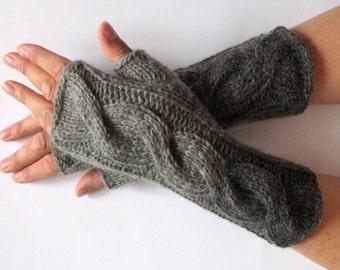 "Fingerless Gloves Gray Arm Warmers 9"" Knit Soft"
