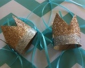set of 12 mini DIPPED crowns facinator party hat Gold and Silver Glitter