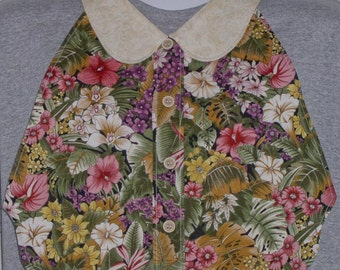 Womens Adult Bib / Special Needs Cream and Mauve Jungle Floral Print Shirt Front Bib