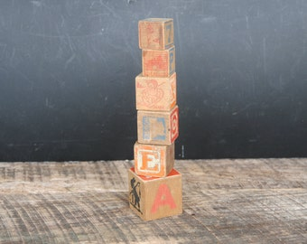 Vintage Wood Blocks Small Collection of 6 Assorted Size