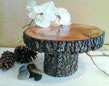 "TREASURY ITEM - 10"" Rustic cake stand - Rustic wedding - Home decor - Woodland decor - Wood cake stand - Centerpiece"