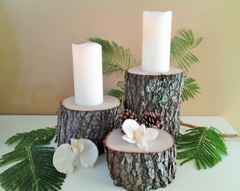 3 Rustic Tree stumps, Wood rounds, Centerpieces, Rustic wedding decor, Mantle decor, tree logs