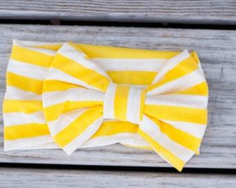 Yellow Knit Jersey Headband - Boho Headwrap - Adult headband - Stretch Headwrap - Earwarmer - Baby headband