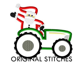 Santa Riding Tractor Christmas Applique and Embroidery Digital Design File  4x4 5x7 6x10
