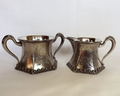 Victorian Woodman-Cook & Co sugar bowl and creamer, silver plate, electro plated Britania metal