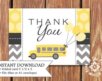 Birthday Bus Thank You Cards