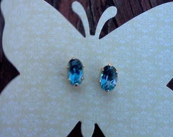 London Blue Topaz 10 K Post Earrings