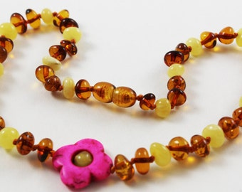 NATURAL BALTIC AMBER Unique Teething Necklace with Flower Pendant for Baby or all Ages Girls