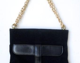 Vintage Black Suede with Gold Chain Shoulder Bag Purse Accessory