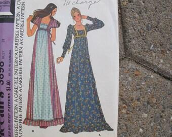 McCalls 3898 Renaissance Dress Pattern UNCUT (size 7) / Empire waist ruffle dress