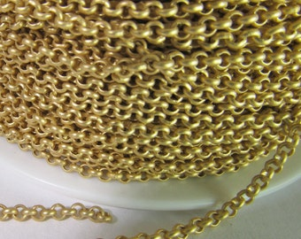 2 Ft Matte Gold-Plated 2mm Brass Rolo Chain Ch218