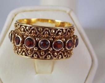 Etruscan Style Garnet Ring 11 mm wide Yellow Gold 14K 1.95Ctw 8.3 gmSize 7.75 Wedding or January Birthstone