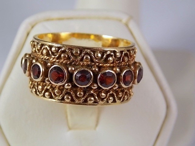 Etruscan Style Garnet Ring 11 Mm Wide Yellow Gold 14k 1 95ctw