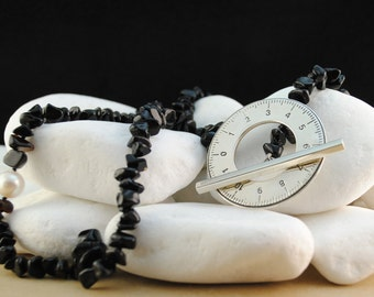 Long Onyx Necklace with Pearl and Sterling Silver Toggle Clasp