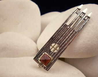 "Garnet Brooch in Solid Sterling Silver with 14K Gold - ""Castle"" - FREE Shipping"