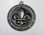 Black Enamel Fleur De Lis Pendant Charm for Necklace Medallion French Symbol