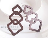 Painting Series - 20x50mm Pretty Coffee Brown Geometry Wooden Charm/Pendant MH248 02