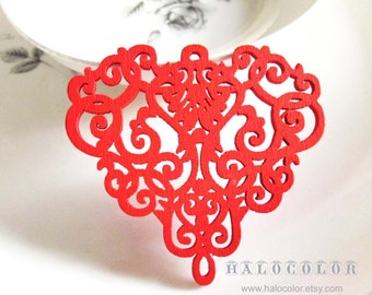 Painting Series  - 54x50mm Pretty Red Filigree Wooden Charm/Pendan MH239 03