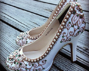 Cherry Blossom Bridal High Heels Wedding Shoes - Any Size - Pick your own shoe color and crystal color