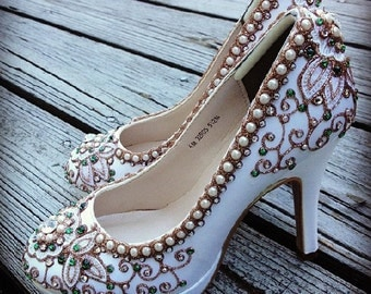 spring garden bridal ballet flats wedding shoes any size