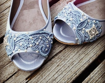 French Pleat Bridal Open Toe Ballet Flats Wedding Shoes - All Full Sizes