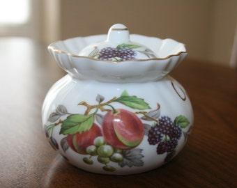 Vintage Small Jar with Lid Covered Jar Royal Bone China England White Gold Fruit Fine China Shabby Cottage Chic