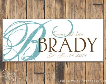 Custom Personalized Wood Family Established Sign Includes Last Name, First Names, & Wedding Date