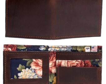 Handmade Brown Leather Men's Bifold Wallet