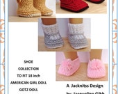 33 American Girl Doll. Shoe Collection for 18 inch Dolls  PDF Knitting Pattern