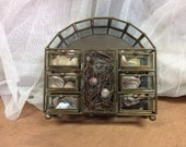 SALE! Mid-Century Glass and Brass Trinket/Jewelry Display Box With Drawers Natural Shells Bird Nest Eggs