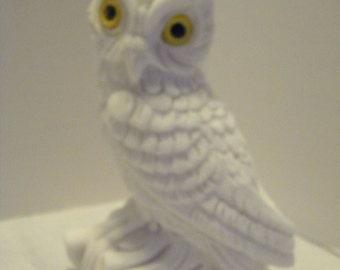 "Vintage White Alabaster Owl Figurine Yellow Eyes 5"""