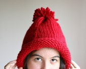 Pom Pom Chunky Knit Hat in Red - Slouchy Beanie - Fall Winter Fashion -  Oversize Beret - Women Teens Accessories