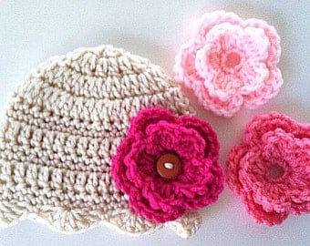 Baby Hat Interchangeable Flower Hat in Newborn, Baby, Toddler and Child sizes