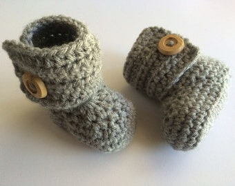 Booties-Crocheted- Boots-Baby-Infant-Grey-Shoes-Slippers
