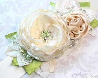 """Ivory Green Chartreuse Wedding Ribbon Sash """"Olivia""""/ Handmade Bridal Sash"""