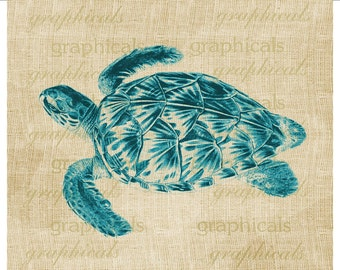 Sea turtle Aqua blue instant digital download image for iron on fabric burlap transfer decoupage pillow tote bag towel.  No. 2159