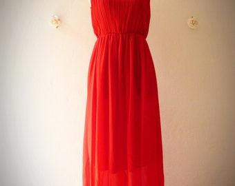 Red Maxi Dress Red Party Dress Red Prom Dress Maxi dress Night Evening Dress -Size S-M