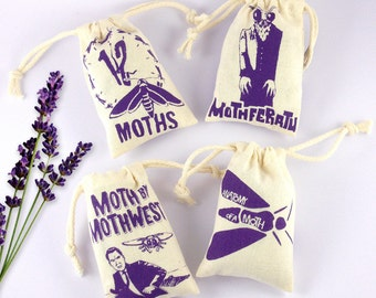 4 Unique Lavender Sachets, Cult Movie Moth Sachets, Earth-friendly Natural Moth Repellent, Set of 4, Choose a Color. DRIED LAVENDER INCLUDED