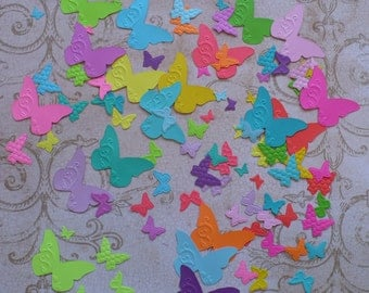 90 Tiny Embossed Butterfly / Butterflies Shapes from Stampin Up Beautiful Wings Die - Die Cut pieces made from Bright Cardstock