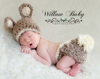 READY Baby Bunny Hat & Diaper Cover Chunky Tan/Grey and Cream Ears, Trim, Fluffy Tail and Ribbon