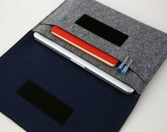 "15"" Macbook Case, Macbook 15-inch Cover, Apple MacBook pro 15 inch Sleeve, MacBook Organizer - Gray & Navy Blue"