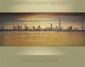 Very Large 24X60 San Francisco Skyline Original Painting Modern Art By Thomas John